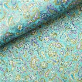 Papier japonais chiyogami arabesques fond bleu clair