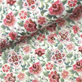 Papier japonais chiyogami fleurs roses fond blanc