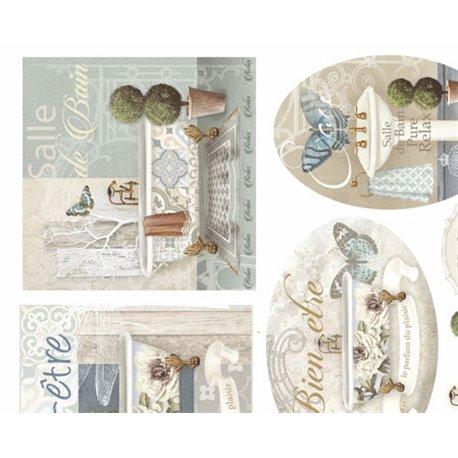 Papier murier silk blanc et bleu motifs salle de bain