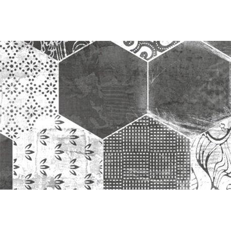 Papier murier silk blanc motifs noir et blanc