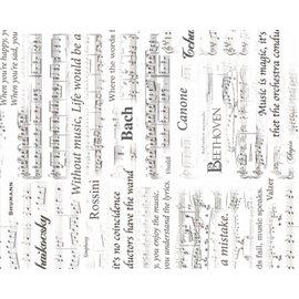 Papier murier silk musique blanc motifs partitions noir