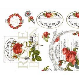 Papier murier silk fleurs blanc roses rouge