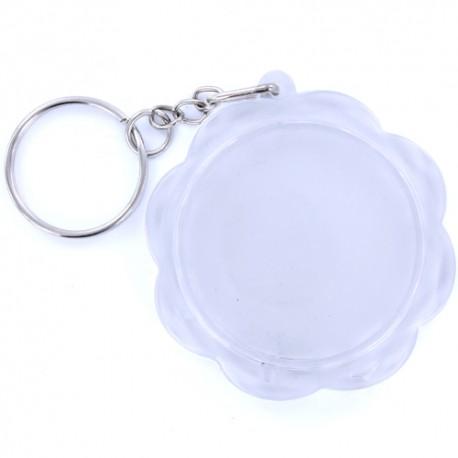 Porte clés plexiglass rond fleur transparent 4.5cm