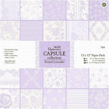 Papier scrapbooking assortiment capsule french lavande 32fe