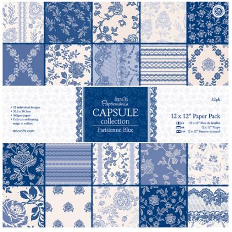 Papier scrapbooking assortiment capsule parisienne blue 32fe