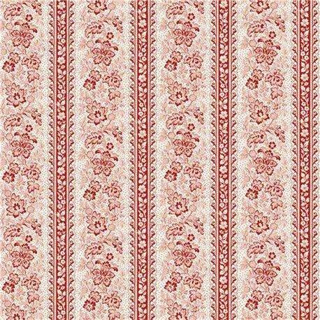 Papier tassotti à motifs bandes de fleurs rouge
