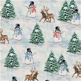 Papier tassotti à motifs bonhomme de neige