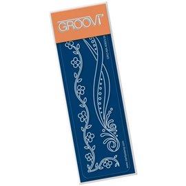 Règle tracage bordures du parchemin Groovi frise de fleurs
