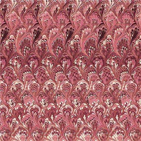 Papier italien motifs feuille d'acanthe rouge