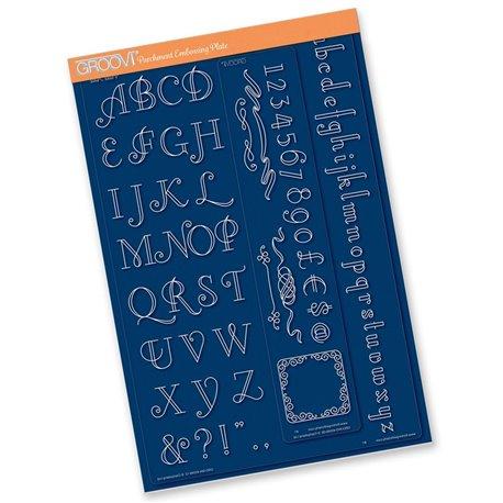 Groovi gabarit tracage parchemin alphabet et chiffres art deco