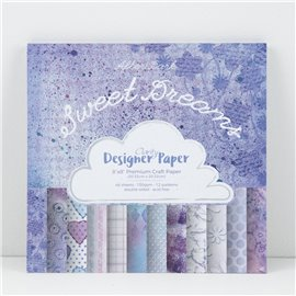 Papier scrapbooking assortiment sweet dreams 48f recto verso