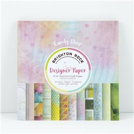 Papier scrapbooking assortiment brighton rock 48f recto verso