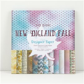 Papier scrapbooking assortiment new england fall 48f recto verso