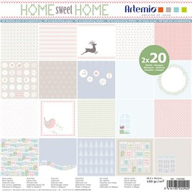 Papier scrapbooking assortiment home sweet home 2x20fe