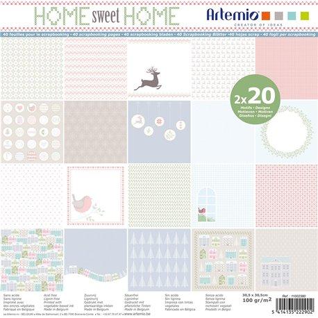 Papier scrapbooking assortiment home sweet home 2x20fe