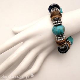 Bracelet fantaisie ethnique turquoise marron -
