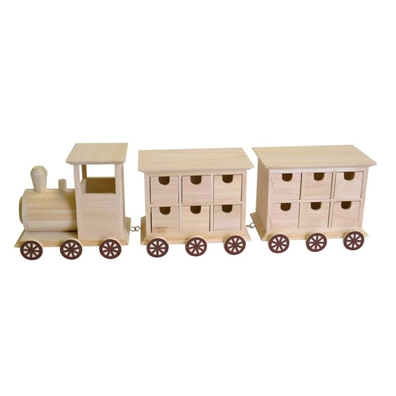 objet en bois petit train en bois 24 tiroirs locomotive. Black Bedroom Furniture Sets. Home Design Ideas