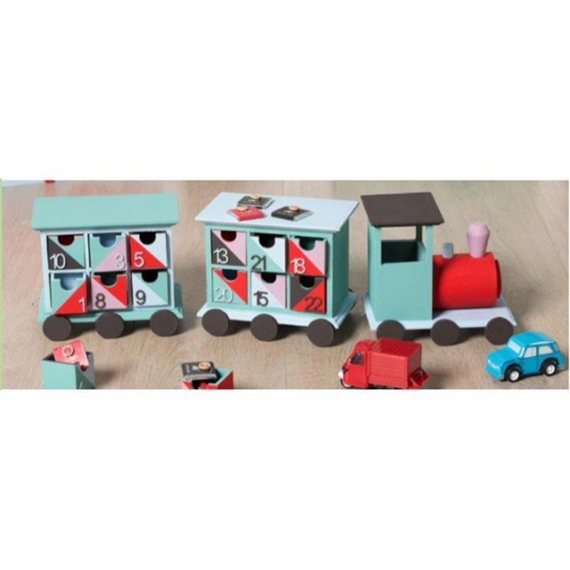 objet en bois petit train en bois 24 tiroirs locomotive d corer calendrier de l 39 avent noel. Black Bedroom Furniture Sets. Home Design Ideas