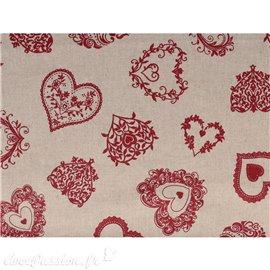 Tissu coton lin coeurs rouge 30x90cm
