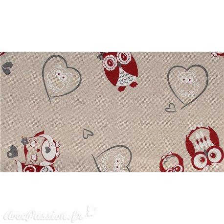 Tissu coton lin famille hibou rouge blanc 30x90cm