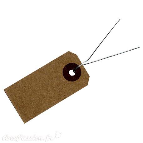 Etiquettes kraft rectangulaires avec fil métal argent
