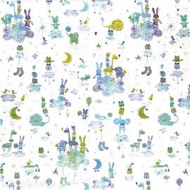 Papier Turnowsky motifs animaux dans les nuages rehaussé de doré