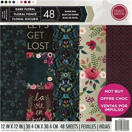Papier scrapbooking assortiment dark floral 48fe