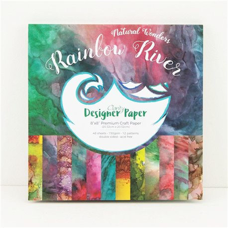 Papier scrapbooking assortiment rainbow river 48f recto verso