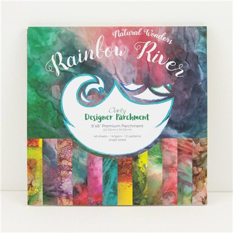Papier scrapbooking assortiment rainbow river 48f recto verso