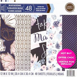 Papier scrapbooking assortiment blue blooms 48fe