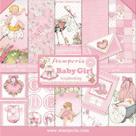Papier scrap assortiment baby girl 10f recto verso