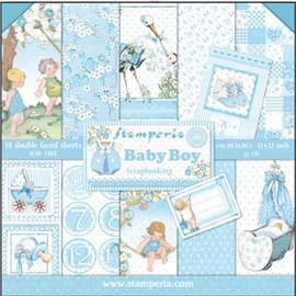 Papier scrap assortiment baby boy 10f recto verso
