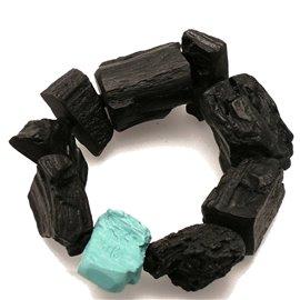 Bracelet fantaisie Sobral créateur résine noir vert -