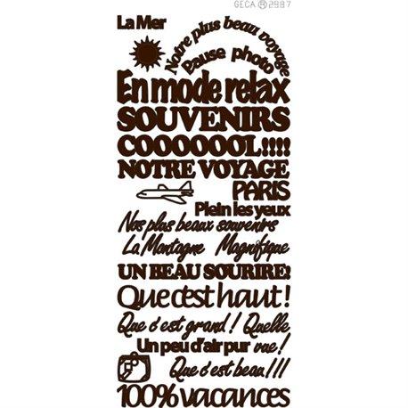 Sticker peel off adhésif marron texte voyages