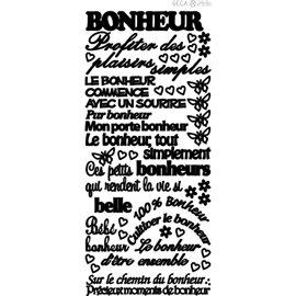 Sticker peel off adhésif noir texte bonheur