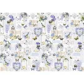 Papier italien motifs fleurs papillons ecritures