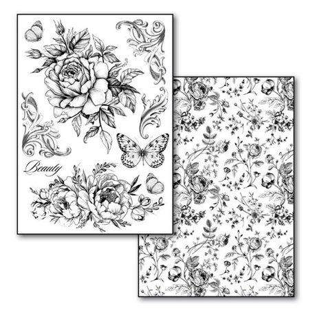 Transfert image noir motif shabby chic fleurs roses