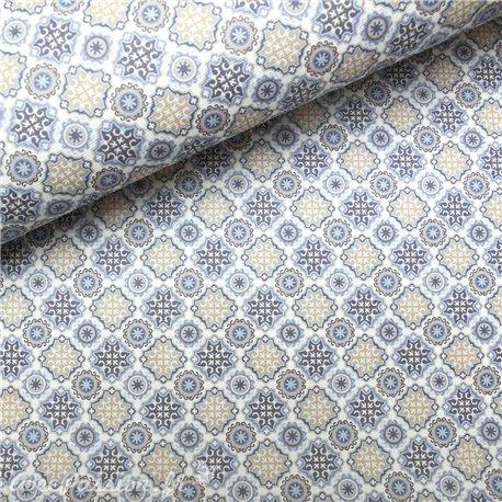 Papier italien motifs bacara bleu beige blanc