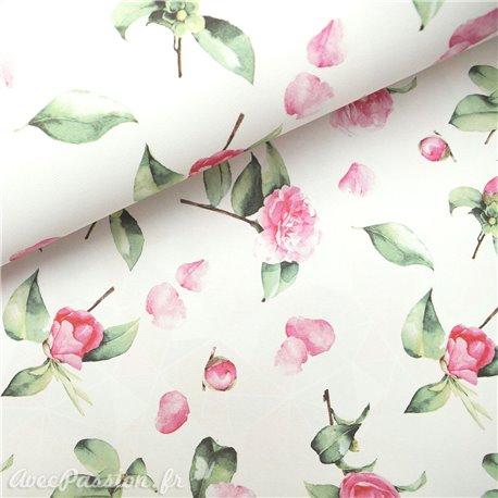 Papier italien motifs camélia fond blanc