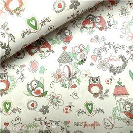 Papier italien motifs chouettes douces pensées