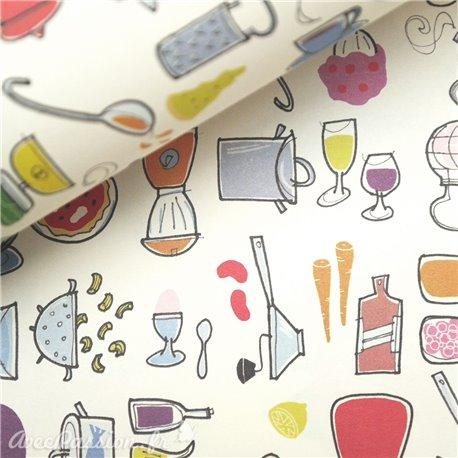Papier tassotti à motifs ustensiles cuisine