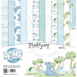 Papier scrapbooking assortiment dino land 12f
