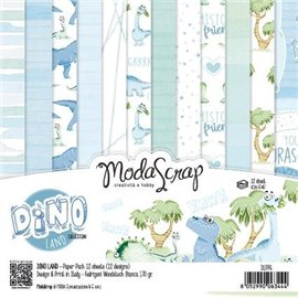 Papier scrapbooking assortiment dino land 12f 15x15