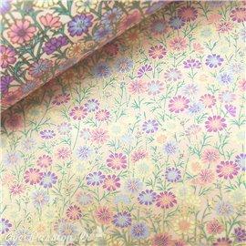 Papier japonais chiyogami fleurs rouges et roses