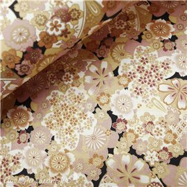 Papier japonais chiyogami fleurs nude doré