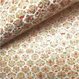 Papier japonais chiyogami fleurs fond irisé argent
