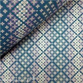 Papier japonais chiyogami fleurs fond bleu