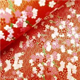 Papier japonais chiyogami fleurs fond rouge