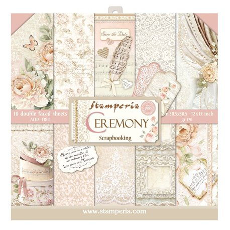 Papier scrapbooking assortiment mariage ceremony 10f recto verso