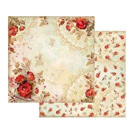 Papier scrapbooking réversible shabby roses rouge